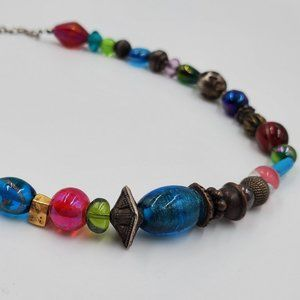 Chico's Colorful Glass Art Beaded Necklace
